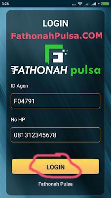 contoh login aplikasi fathonah pulsa