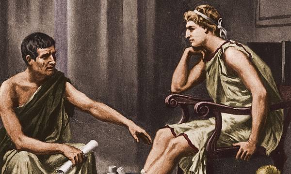 Büyük İskender gençlik çağında Aristoteles ile birlikte