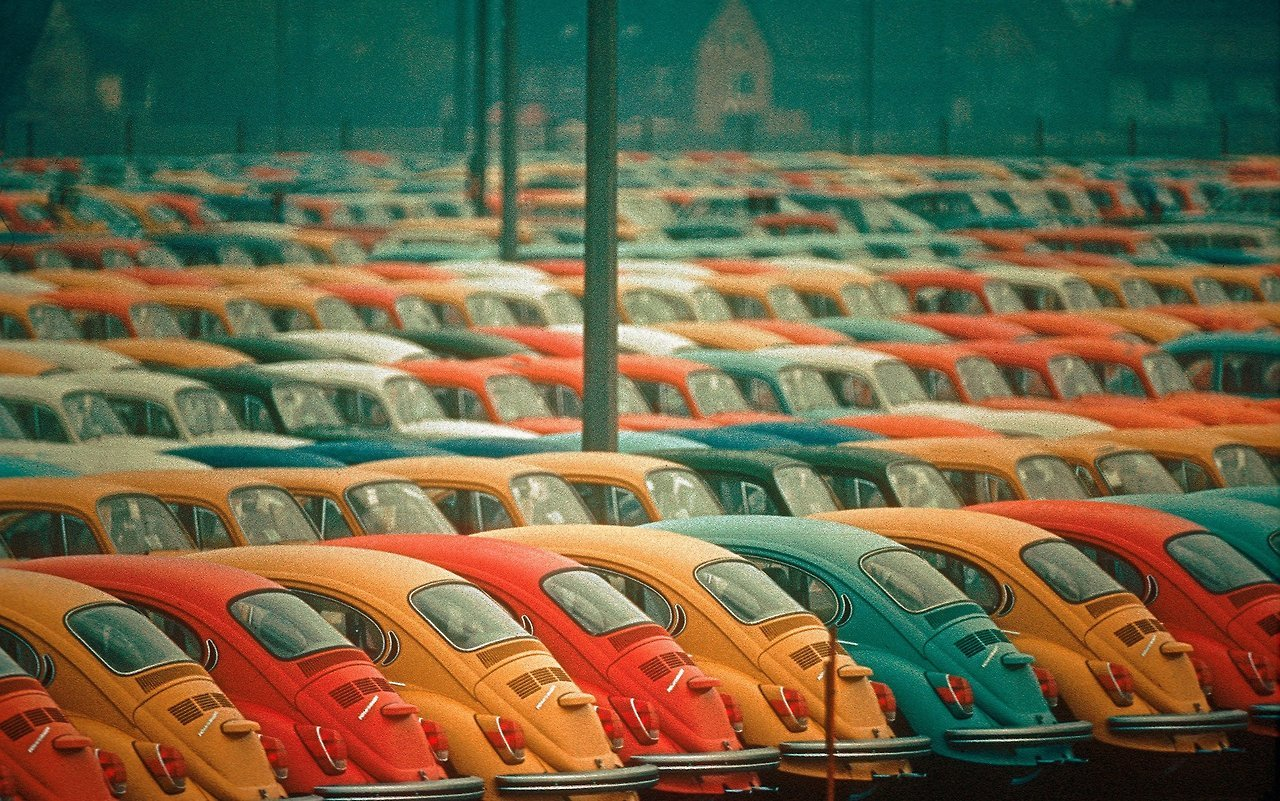 Image result for Thomas Hoepker's Photograph of Newly-Built Volkswagen Beetles Ready for shipping, Hamburg, 1972