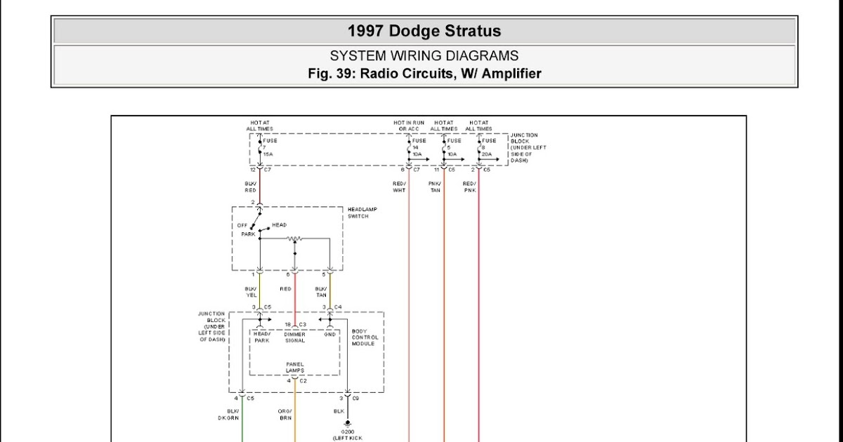 dodge status wiring harness diagram 1997 dodge stratus radio circuits, w/ amplifier system ...