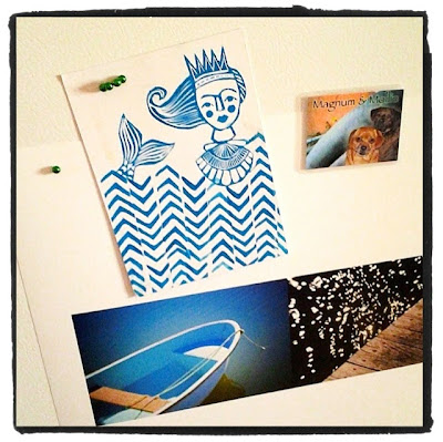 hand-carved mermaid stamp postcard