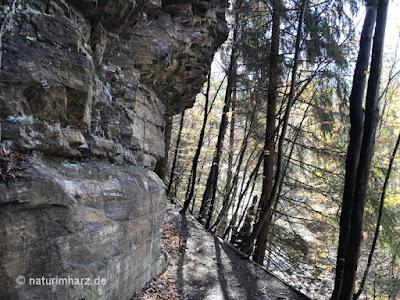 Schöner Wanderpfad aus Kieselschiefer auf dem geologischen Lehrpfad