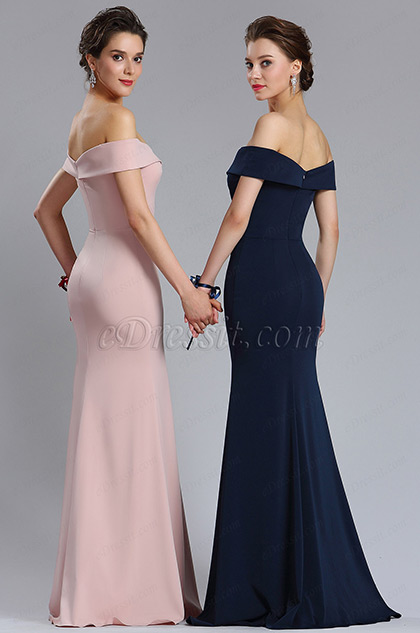 New Rose Pink Off Shoulder Slit Prom Evening Dress
