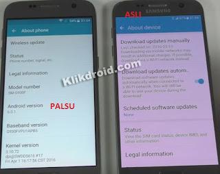 Menu About Device Samsung S7 Asli dan Palsu