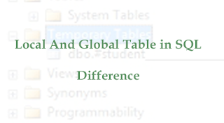 Local And Global Table in SQL