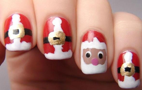 Designs Art Nail Polish Xmas Santa Claus Nail Art And Designs No 015
