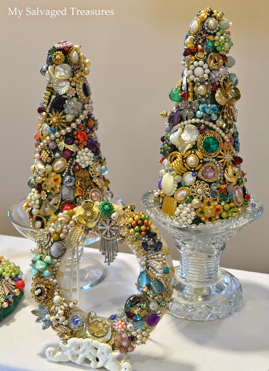 Christmas trees with vintage jewelry