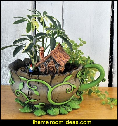 Fairy Garden, Woodland Vines Tea Cup Planter and Accessories Set. Includes Teacup Planter, Micro Gnome, and Micro Home