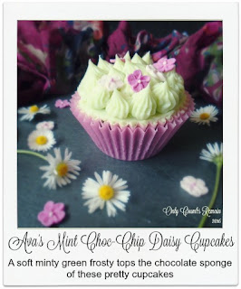 Mint Choc-Chip Cupcakes Recipe.  These mint choc-chip cupcakes not only look pretty but taste amazing too.  Inspired by Ava, our young friend, these cupcakes were decorated with pretty pink flowers and a green 'grass' buttercream.