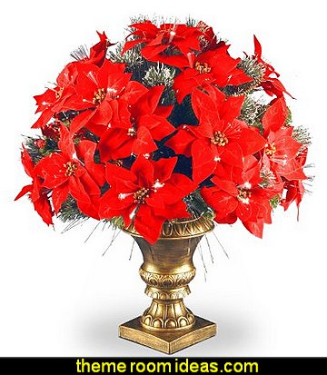 Poinsettia Arrangement with Fiber Optic Lights in Decorative Urn