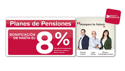 Planes de pensiones | Oferta  8% Banco Popular