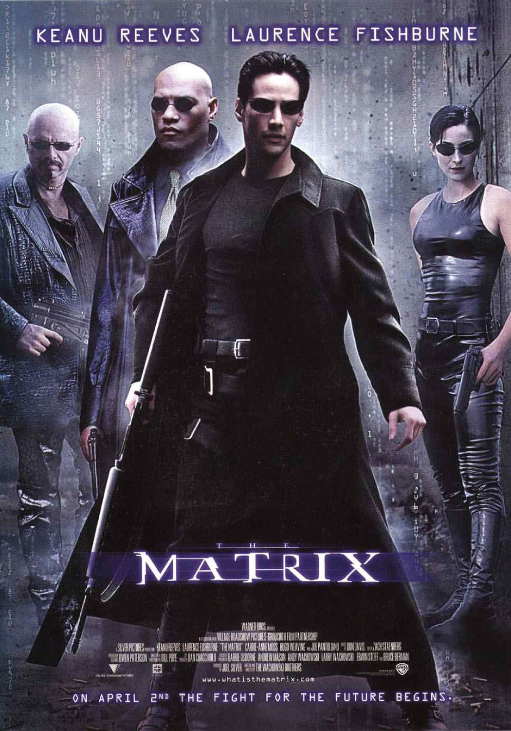 The theatrical release poster for The Matrix. It depicts the four main characters (from left to right: Cypher, Morpheus, Neo and Trinity).