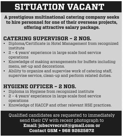 Overseas Business Solutions: Jobs in Catering Company (Oman)