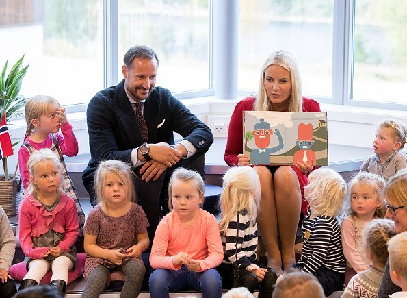 Crown Prince Haakon of Norway and his wife Princess Mette-Marit visited a kindergarten in Grong