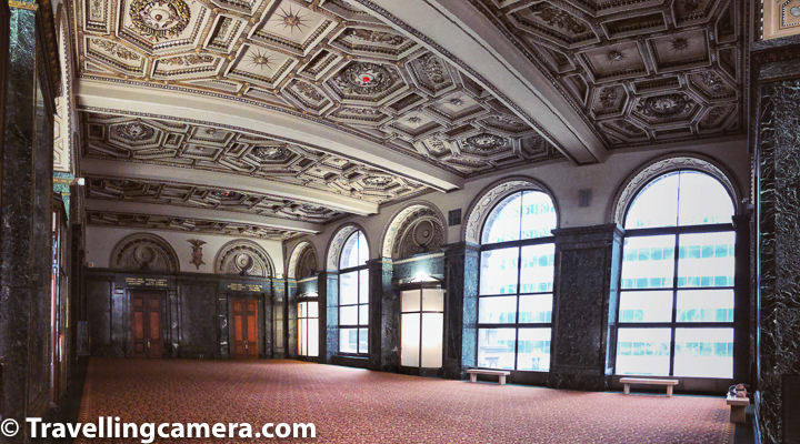 There are different entries to the Chicago Cultural Center. The one on Randolph Street has doric columns, mahogany doors, and entry hall with coffered ceiling and walls of green-veined Vermont marble.