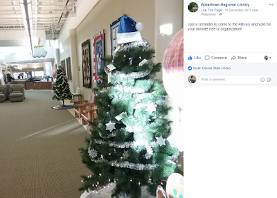 Facebook photo of Christmas Trees at Watertown Regional Library