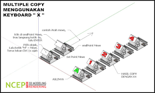 Cara Multiple/Copy Array Objek di Sketchup - ncep tutorial