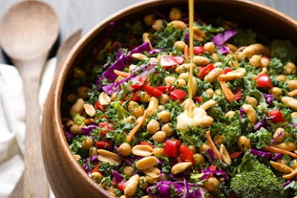 RAINBOW POWER KALE SALAD WITH PEANUT DIJON DRESSING