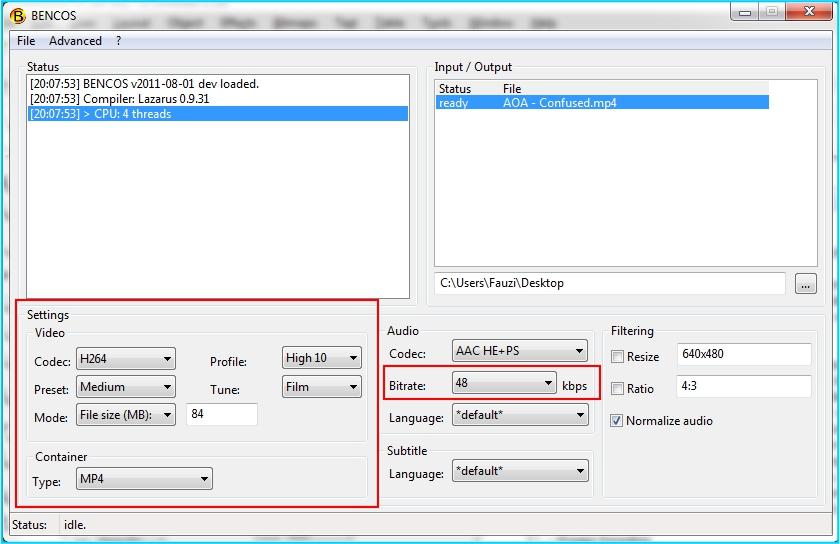 encode bencos setting