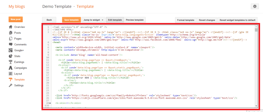 html code blogger template