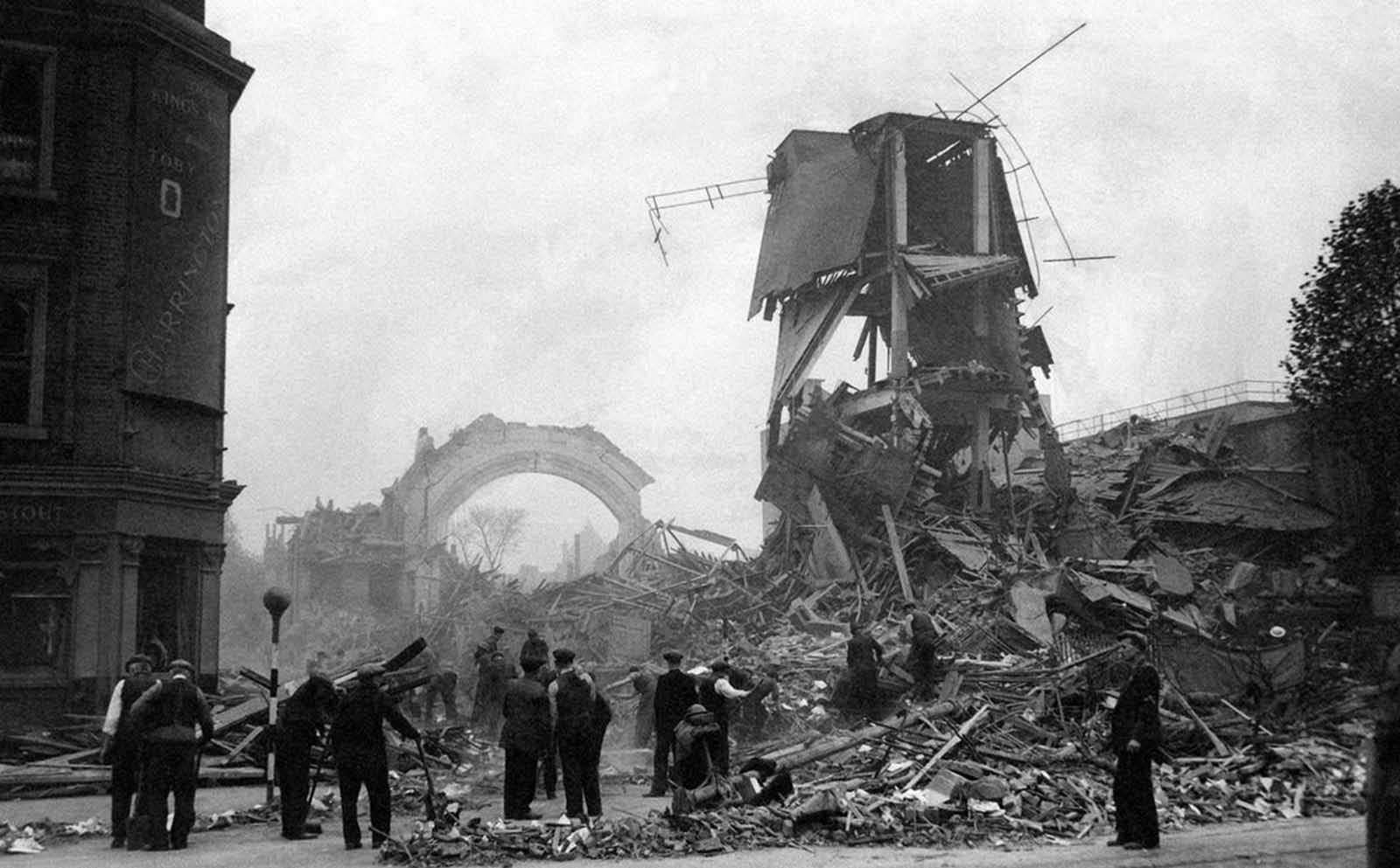 A German raid smashed this hall in an undisclosed London district, on October 16, 1940.
