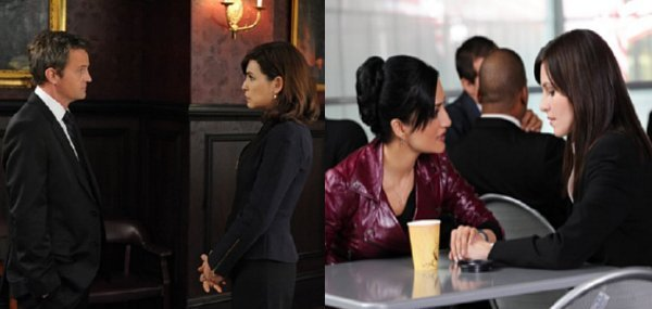 The Good Wife - Mike faces Alicia, Kalinda sits and faces Lana
