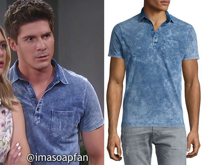 Dillon Quartermaine, Robert Palmer Watkins, Distressed Blue Polo Shirt, Diesel, GH, General Hospital