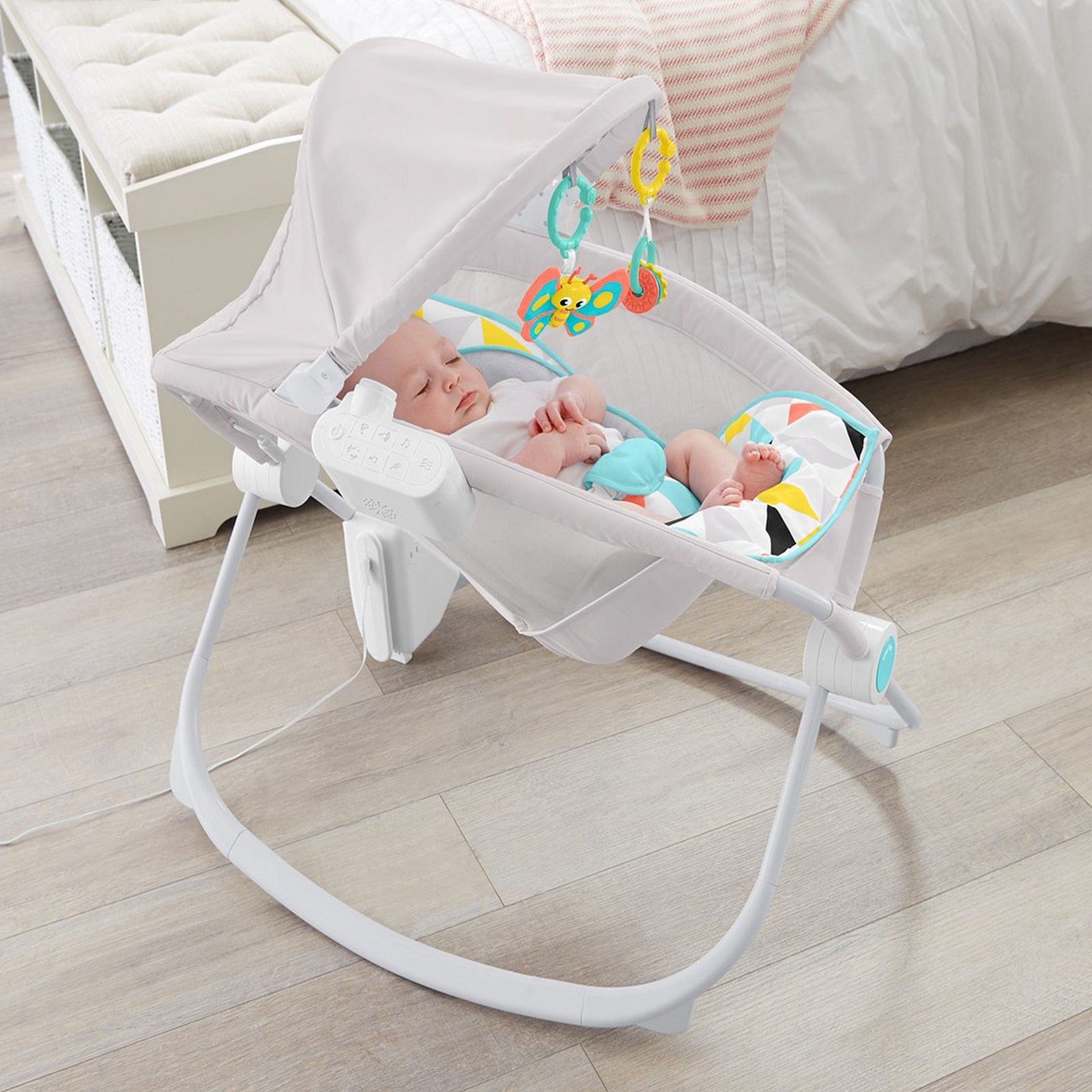 to soft cinema safety cute and use sleeper play rock price includes with an entertain lightweight adorable fisher baby ears luxurious easy cradle plush n newborn fabrics bunny