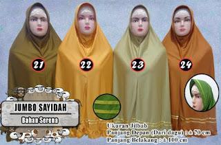 Jilbab Super Jumbo Sayidah Model Bergo bahan serena