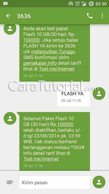 sms balasan mendaftar atau membeli paket internet telkomsel 10GB rp 100rb perbulan