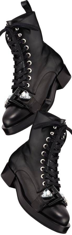 No. 21 Calf Leather Lace-Up Combat Boots