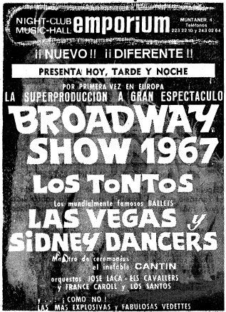 Barcelof lia sala emporium muntaner 4 1927 1979 for Sala muntaner barcelona
