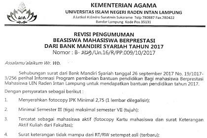 BEASISWA MAHASISWA S1 (BANK MANDIRI SYARIAH) 2017