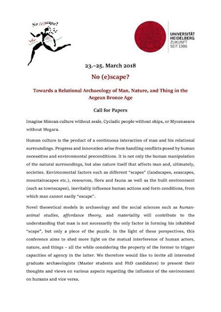 Διεθνές συνέδριο μεταπτυχιακών φοιτητών και υποψήφιων διδακτόρων αρχαιολογίας No (e)Scape Heidelberg