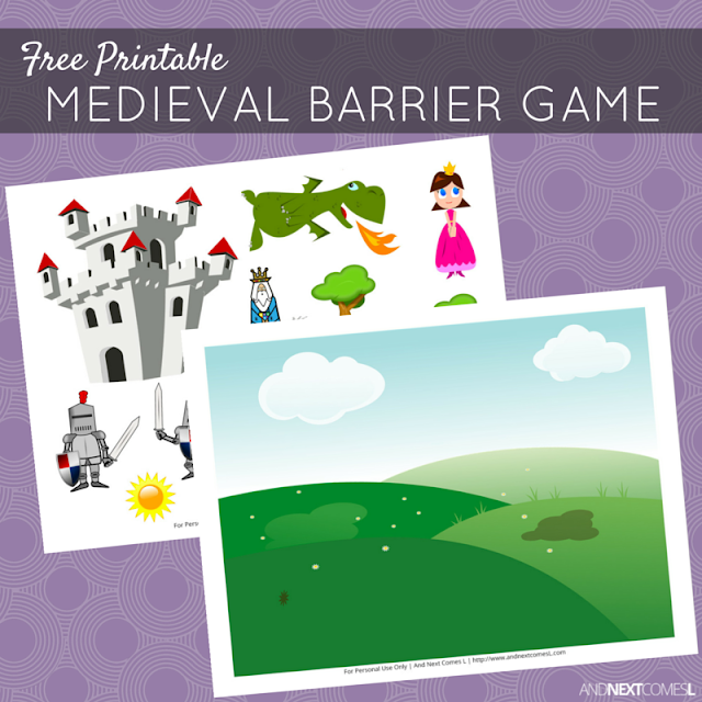 Free printable medieval themed barrier game for speech therapy - great for kids with autism and hyperlexia from And Next Comes L