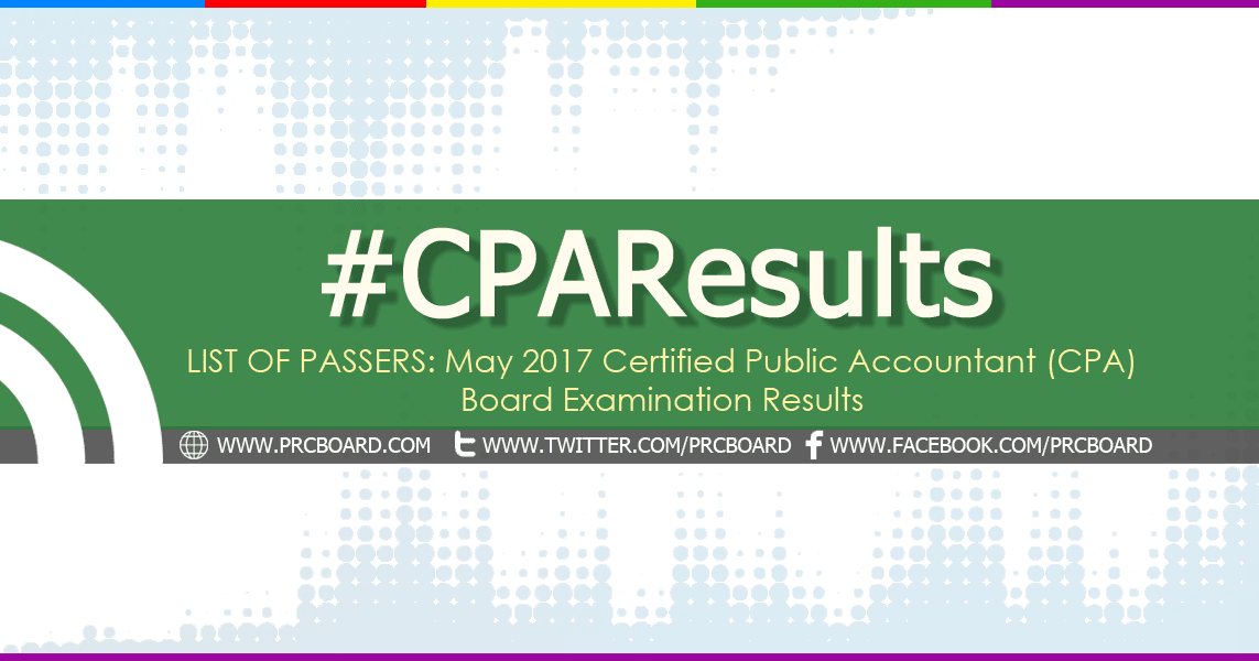 CPA Board Exam RESULTS: A-C List of Passers (May 2018)
