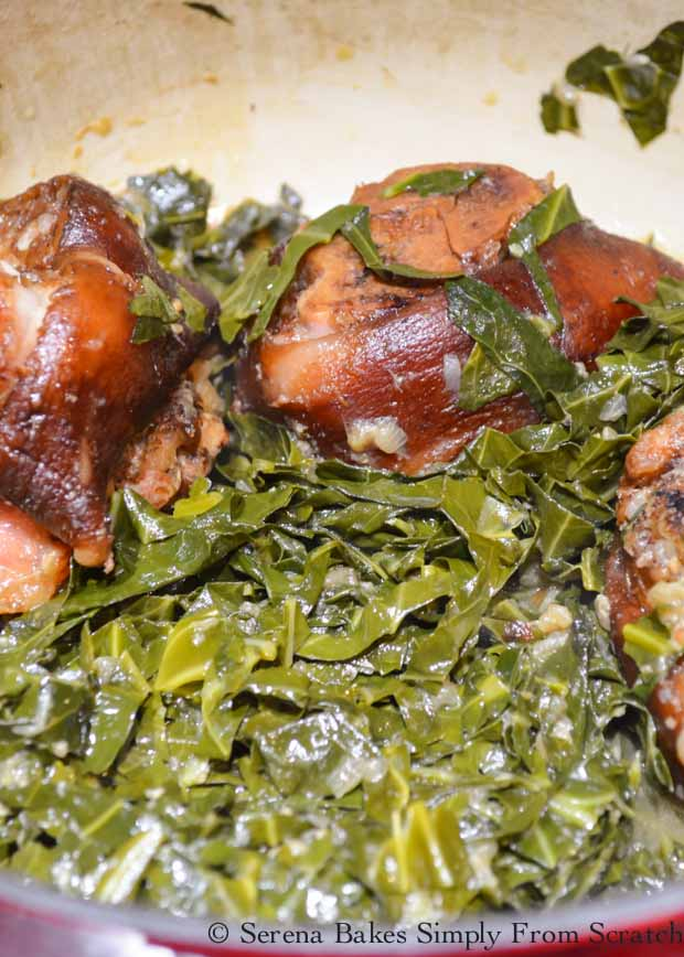 Cooked Southern- Style Collard Greens with ham hock recipe from Serena Bakes Simply From Scratch.