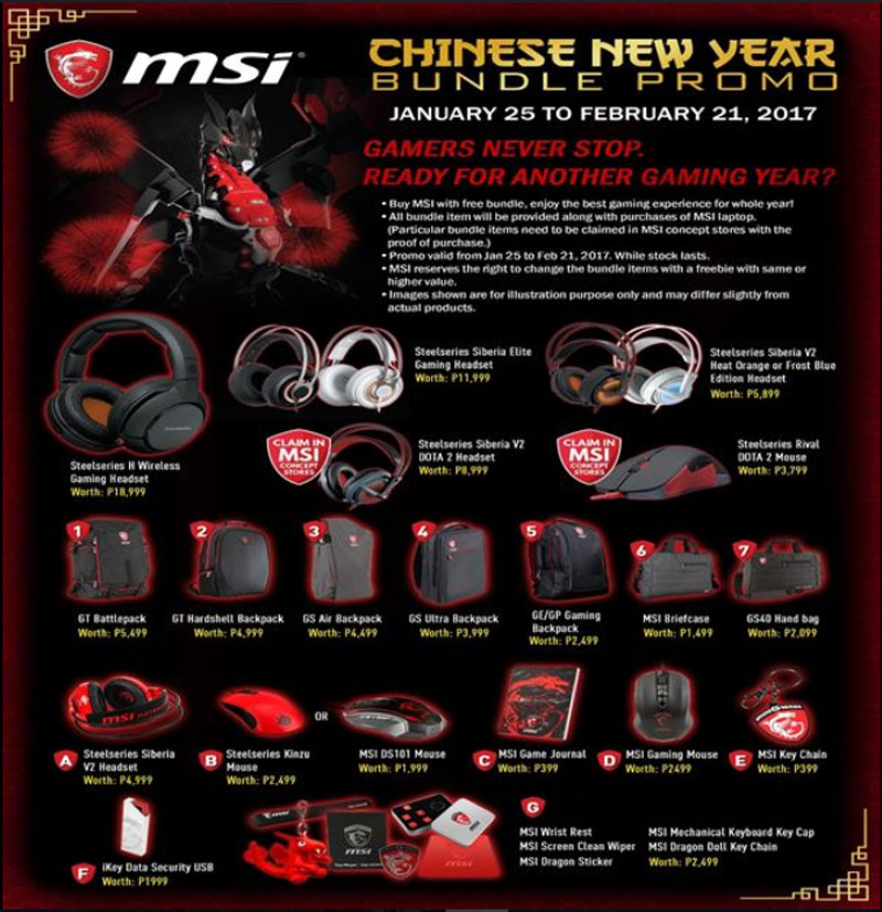 MSI Philippines Notebook Releases Chinese New Year Promotion
