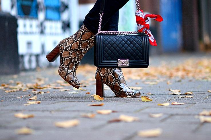 Mango Faux Snakeskin ankle boots, Tamara Chloé, TC Style Clues, Chanel boy bag, Red bandana, bandana trend