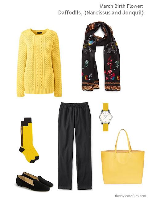 wearing daffodil yellow with black