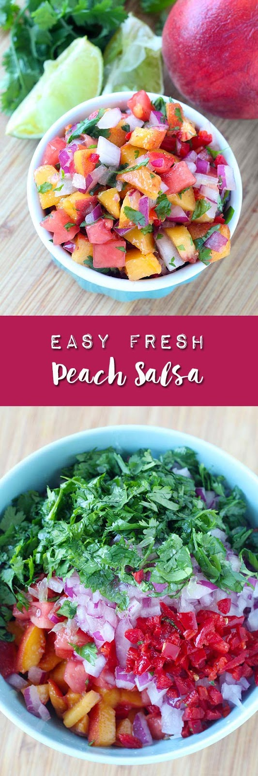 A quick & easy recipe for fresh peach salsa using simple ingredients like red onion, tomato, cilantro, lime juice, jalapeno, and pantry spices. Serve it as a garnish for pork chops, grilled chicken, or baked fish, as a dip with your favorite chips, or even as a sweet & spicy condiment alongside your favorite foods.