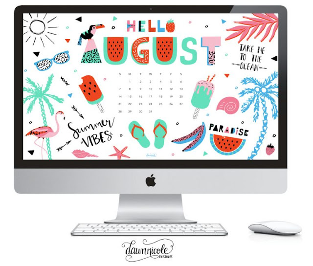 August 2016 Calendar desktop - DAWN NICOLE DESIGNS