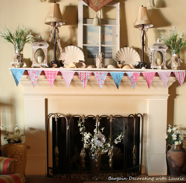 Beachy Summer Mantel-Bargain Decorating with Laurie
