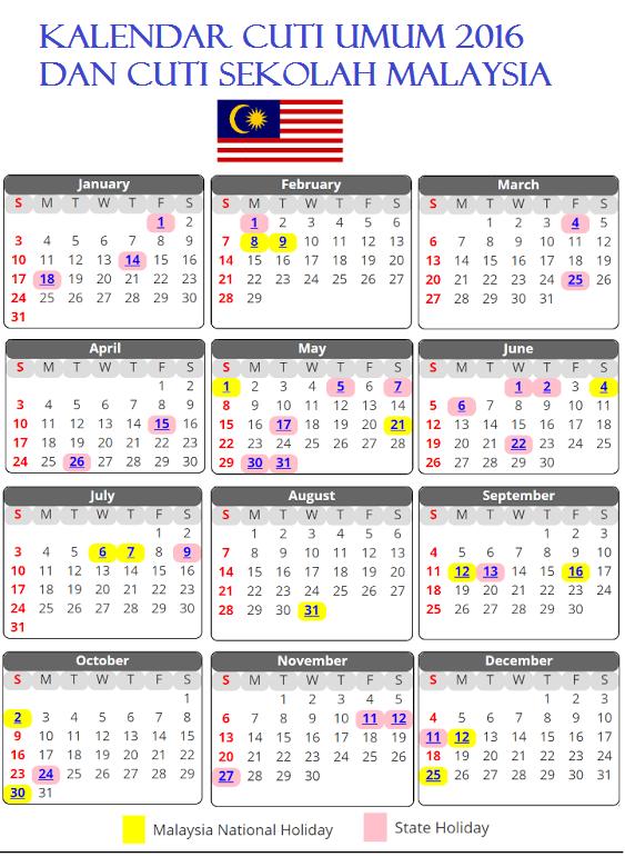 Kalendar Cuti Umum 2016 Malaysia