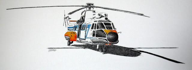 AS-332 L1 Super-Puma 2244, encre, aquarelle, hélicoptère