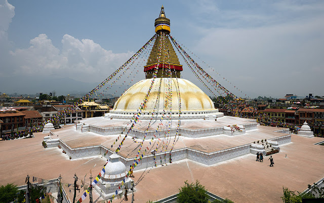 The Boudhanath stupa (c. 755 AD), Kathmandu, Nepal, is one of the largest stupas of the world and an important center of Tibetan Buddhism