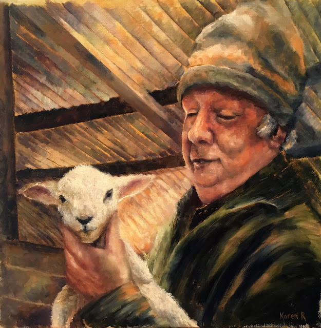 Oil painting of a shepherd and lamb