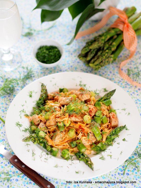 szybkie danie, szybki obiad, danie jednogarnkowe, z makaronem, kurczak, szparagi, blyskaiwczne danie, ekspresowy obiad