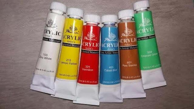blog-paznokcie-jak-czym-malowac-farby-akrylowe-phoenix-acrylic-artist-biala-zinc-white-zolta-lemon-yellow-czerwona-vermilion-niebieska-cobalt-blue-cielista-brazowa-raw-sienna-zielona-emerald-green-12-ml