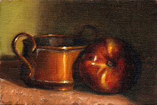 Oil painting of a red-coloured nectarine beside a small copper pot.